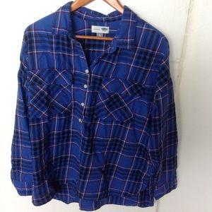 Old Navy plaid flannel boyfriend shirt
